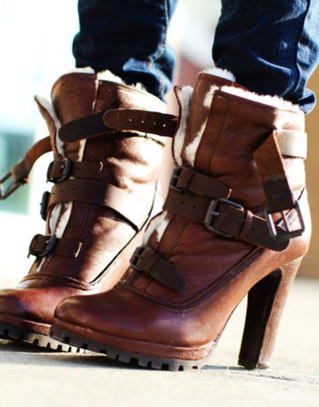 shoes boots high heels buckles high heel boots buckle boots lace up boots brown leather boots fur boots platform high heels boho