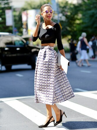 skirt streetstyle fashion week 2014 top shoes