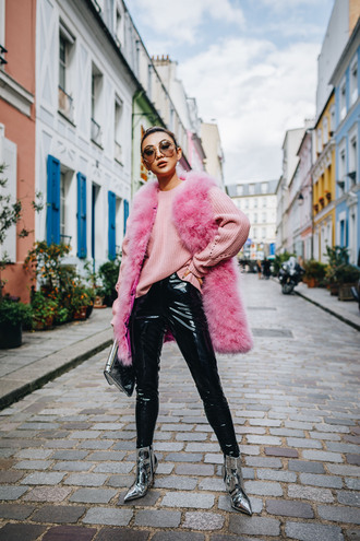 not jess fashion blogger jacket sweater pants shoes bag sunglasses fall outfits fur vest fur jacket metallic shoes ankle boots boots pink sweater