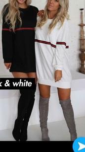 dress,black,white,cotton,jersey dress,oversized t-shirt