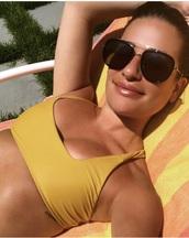 swimwear,yellow bathing suit top