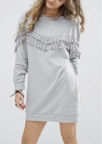 dress grey sweater sweater dress tassel girl girly girly wishlist fall sweater