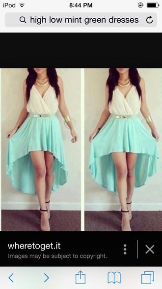dress mint high low