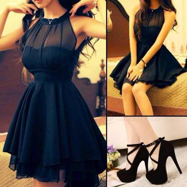 dress black little black dress high heels shoes blouse