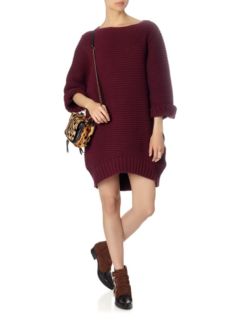 Oxblood cup sleeve jumper dress