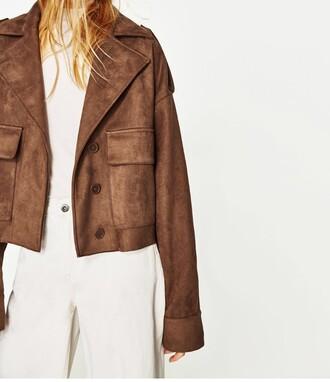 jacket brown beautiful girl girly blonde hair lovely oversized jacket suede jacket
