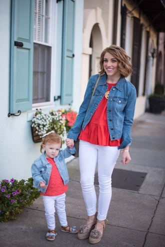 something delightful blogger top jacket shoes bag jewels denim jacket red top white pants mother and child spring outfits