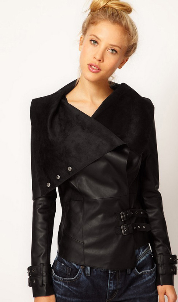 Leather cross over jacket