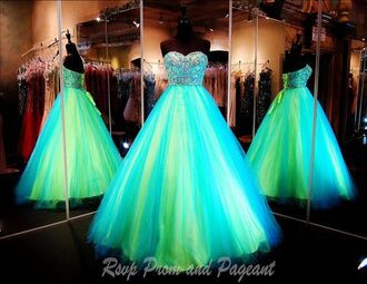dress prom grad ball gown dress turquoise lime tulle skirt sweetheart strapless beading crystal