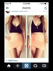 skirt,peach skirt,black tank top,crop tops,cardigan