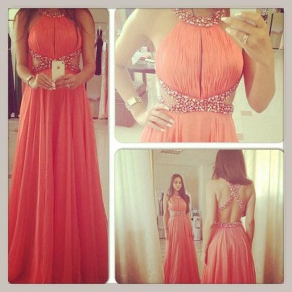 coral dress evening dress beading dress backless dress