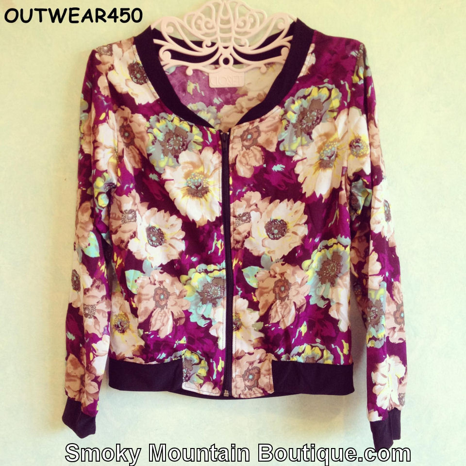 Multi Color Women's Floral Jacket Outerwear - Size Small - OW450 - Smoky Mountain Boutique