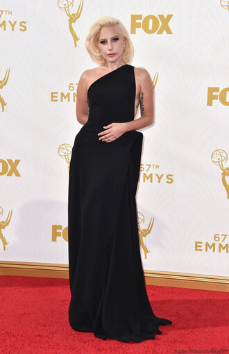 dress black dress gown one shoulder lady gaga emmys 2015