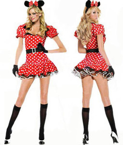 Sexy Halloween Womens Minnie Mouse Fancy Dress Costume outfit S M L | Amazing Shoes UK