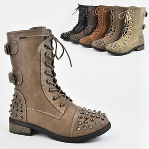 Women's Military Army Combat Riding Ankle Spike Studs Bootie Boots Shoes Forever | eBay