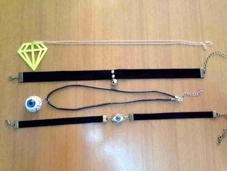 jewels style eyes diamonds eyes charms diamond charm choker necklace necklace black velvet chain