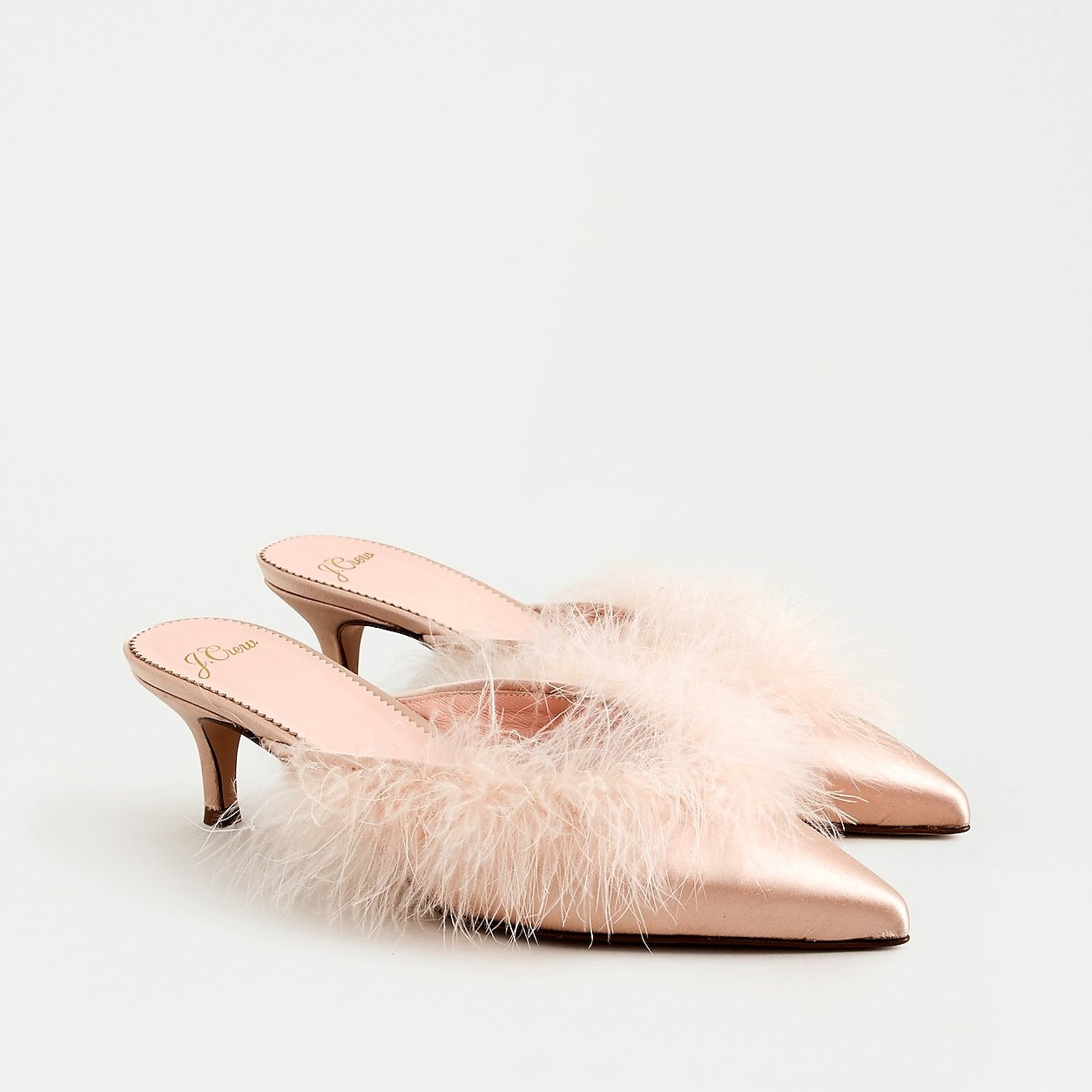 Sophia Kitten Heels In Satin With Feather Detail
