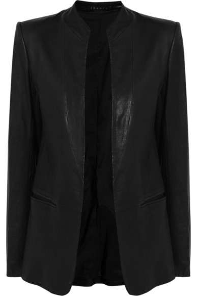 black leather jacket blazer theory leather blazer