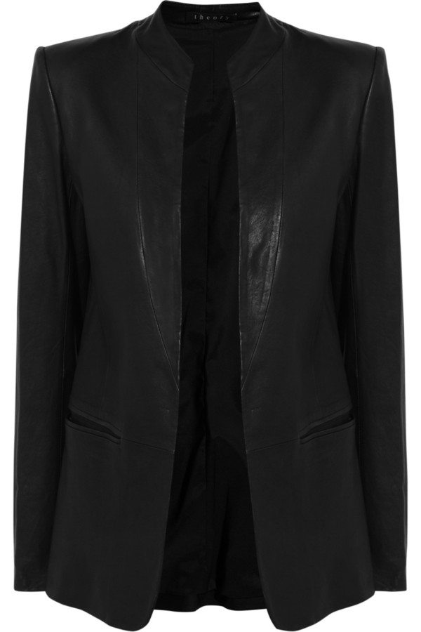 jacket theory leather blazer blazer leather black