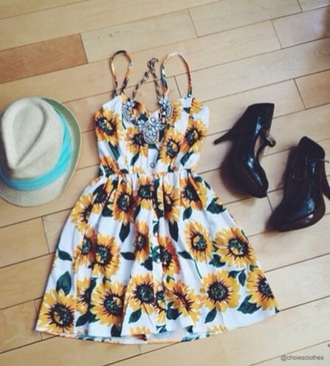 dress sunflower hipster flowers summer dress shoes hat