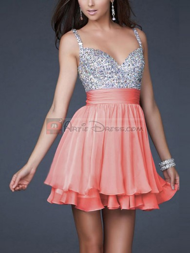 Red, Pink A-line/Princess Sleeveless Short/Mini Chiffon Dresses with Straps for Cheap