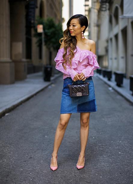 skirt mini skirt pumps off the shoulder top ruffle mini bag chanel blogger blogger style patchwork denim skirt