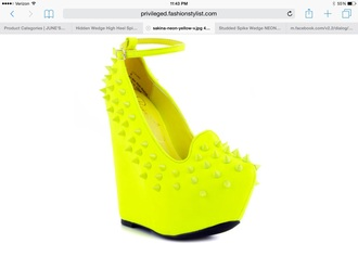 shoes neon yellow spiked wedges