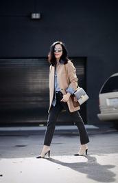 hallie daily,blogger,beige coat,classy