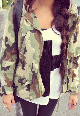 jacket clothes camouflage shirt army green jacket camo jacket cross sweater cross fashion green army green jacket