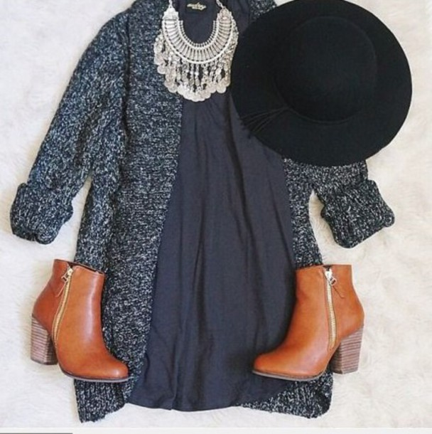 dress cardigan hat boots brown boots necklace winter cardigan sweater shoes blue dress hippie hipster girly outfit coat jewels black dress gray cardigan hipster dress dark colours