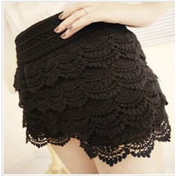free shipping  Women's multi layer lace cutout crochet shorts solid color sexy safety pants basic skirt pants-in Shorts from Apparel & Accessories on Aliexpress.com