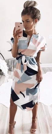 dress,colorblock,white dress,casual,white,color block dress,bow,midi dress,pink,pink dress,pastel pink,pastel,geometric,navy,blush,grey,tie front,slit dress,midi,clothes,v cut neck dress