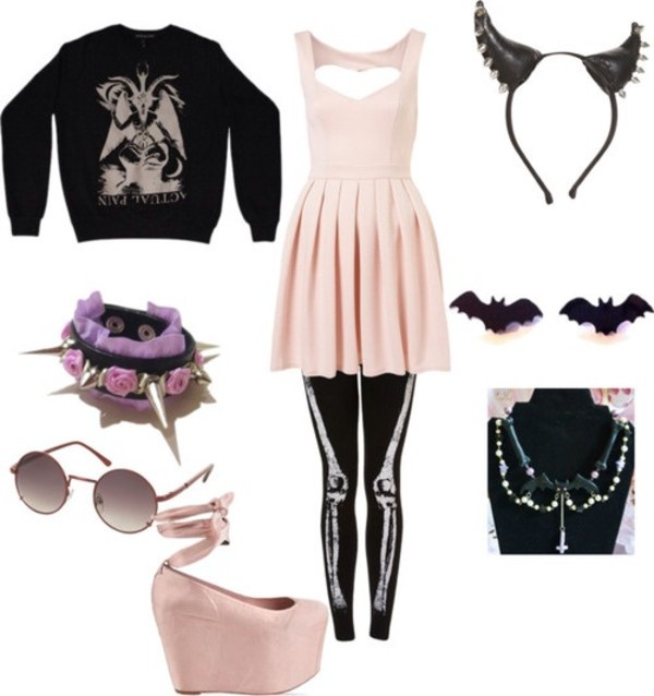 dress pink dress pastel goth pastel pink skeleton leggings