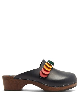 clogs embellished leather navy shoes