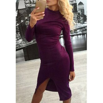 dress sexy bodycon purple long sleeves