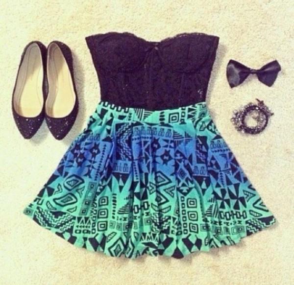 dress skater dress aztec black blue light blue turquoise skirt