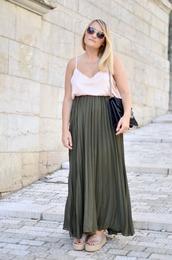 paris grenoble,blogger,top,shoes,white tank top,pleated skirt,espadrilles,satin