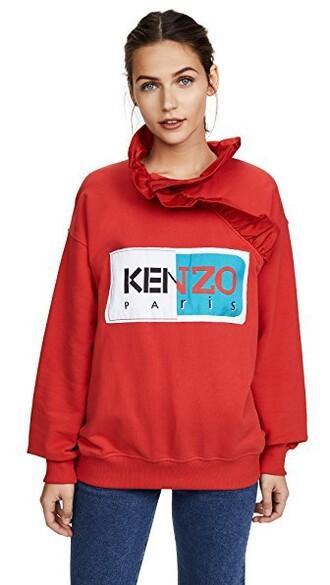 sweatshirt ruffle red sweater