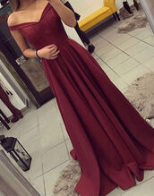 dress,burgundy,gown,bardot,off the shoulder,prom dress,long dress,maxi dress