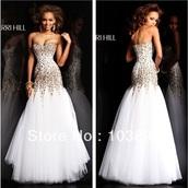 dress,whie prom dress