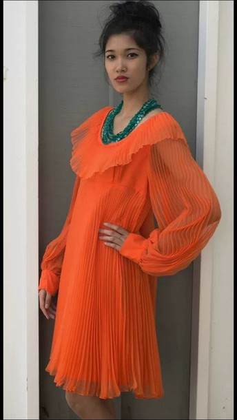 dress prom dress orange dress fashion modern vintage classic runway spring