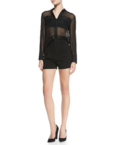 Alice   Olivia Vicka Sheer Chiffon/Lace Blouse & High-Waist Pleated-Front Shorts