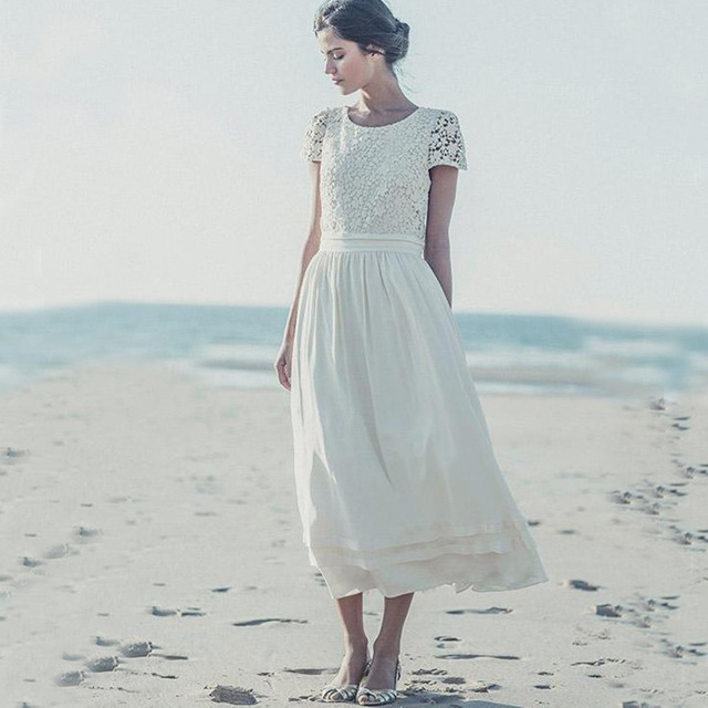 Aliexpress.com : Buy Short Sleeves A line Beach Wedding Dresses 2016 With Short Sleeves Mid Calf Chiffon Bridal Gowns New Real Sample Robe de mariee from Reliable dress wedding girl suppliers on Irisdress