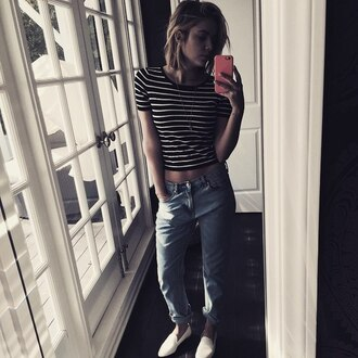 top stripes ashley benson flats denim jeans instagram shoes spring outfits