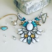 jewels,cherry diva,jewelled necklace,quirky jewellery,statement necklace,necklace,sparkly necklace,blue necklace,white necklace,silver necklace