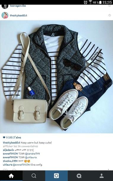 jacket grey converse navy bag shirt