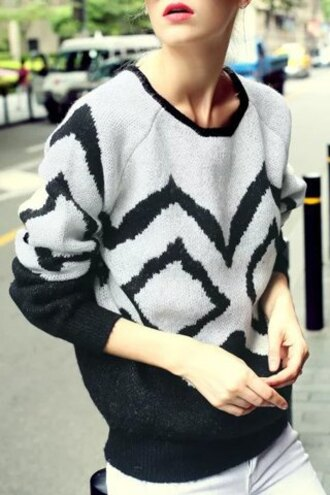 sweater white black pattern fashion style casual warm long sleeves