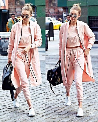 jacket pants sportswear sweater gigi hadid outfit fashion all pink everything sweatpants