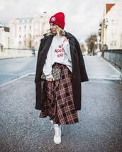 coat,faux fur,plaid skirt,maxi skirt,white boots,white hoodie,handbag,knit,hat