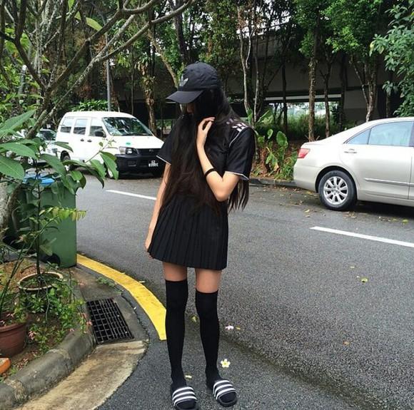 black white skirt black skirt socks black dress dress white dress black socks thigh highs adidas